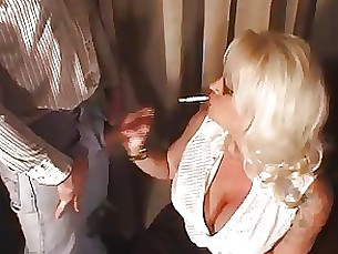 smoking milf mature hot glasses busty bus blowjob blonde
