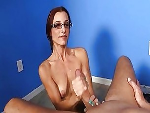 couple glasses masturbation handjob milf hot jerking