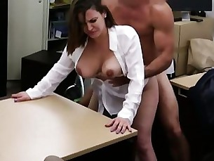 blowjob boobs brunette bus cash hardcore milf office public