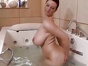 bathroom solo mature masturbation big-tits natural milf
