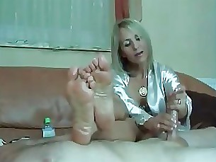 fetish blonde footjob handjob milf