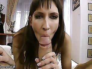 milf big-cock blowjob brunette sucking slender pov