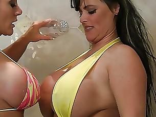 blonde bikini shower pornstar playing wet oil milf lesbian