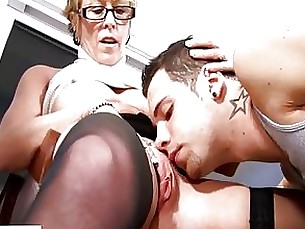 masturbation student mature seduced shaved blonde blowjob couple glasses