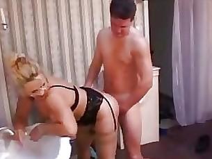 milf blonde oil toilet