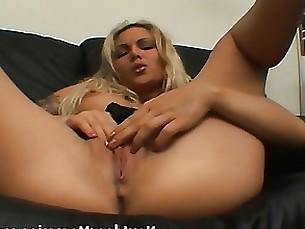 solo milf masturbation couch blonde