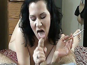 awesome babe blowjob brunette milf redhead smoking