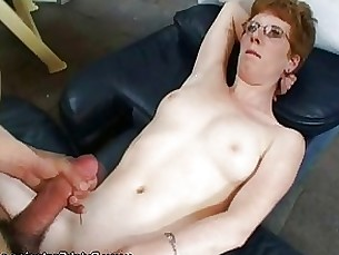 mature shaved amateur blowjob brunette couple horny glasses fuck