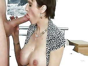 brunette couple cumshot glasses handjob masturbation mature