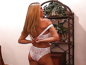 blonde dress lingerie masturbation milf pornstar solo