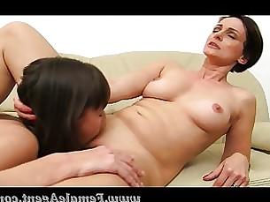 masturbation lesbian brunette blowjob shaved orgasm office milf mature