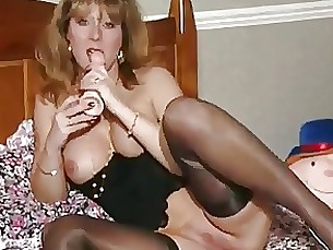 toys sucking stocking milf masturbation dildo black