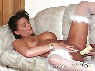 brunette lingerie masturbation milf solo squirting toys