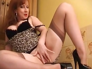 dress fingering high-heels mammy masturbation mature milf redhead