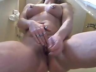 bathroom blonde cougar homemade hot juicy mammy masturbation milf