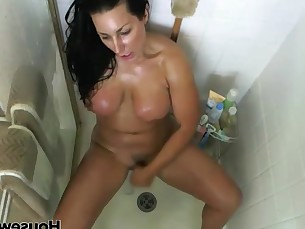 bathroom big-tits boobs brunette celeb hot mammy masturbation milf