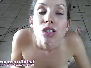 amateur blowjob brunette close-up big-cock cumshot facials handjob hd