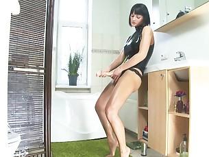 babe black brunette cumshot dildo fetish kinky latex masturbation
