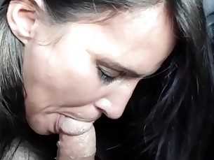amateur blowjob brunette car big-cock deepthroat fuck homemade milf